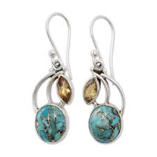 cd earrings handmade sterling silver modern mystique citrine turquoise