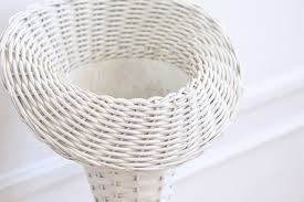 vintage white wicker basket tall planter stand flower stand a