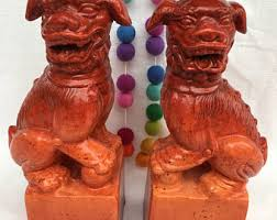 orange foo dogs chinoiserie foo dogs etsy
