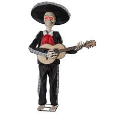 Mariachi Halloween Costume Mariachi Skeleton Playing Guitar Animated Prop 305786