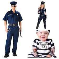 cops and robbers themed family costumes cops and baby prisoner