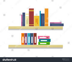 shelves colored books folders row colored stock vector 508420381