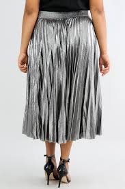 pleated skirts silver metallic pleated skirt