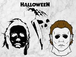 pumpkin face svg michael myers svg dxf png clipart eps vector files