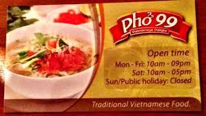Singapore Business Cards Pho 99 Business Card Front Picture Of Pho 99 Vietnamese
