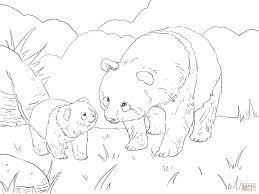 mother panda with cute cub coloring page free printable coloring