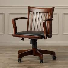 wood desk chair with wheels wood office chairs you ll love wayfair