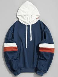 pockets color block hoodie blue hoodies u0026 sweatshirts m zaful