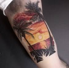 sunset and palm tree tattoo on half sleeve tactoo pinterest