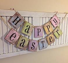 happy easter spring banner bunting sign retro shabby chic cottage