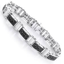 silver bracelet with diamond images Mens black diamond bracelet 0 30ct sterling silver jpg