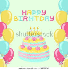 vector happy birthday card birthday cake stock vector 414146266