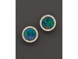 turquoise opal earrings meira t 14k yellow gold blue opal and diamond stud earrings in
