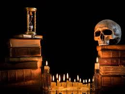 halloween skull with candle background download wallpaper magic candles books darkness black