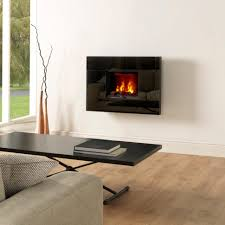living room electric insert fireplace hardwood flooring stone