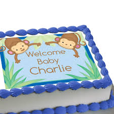 monkey boy baby shower personalized edible image cake decoration