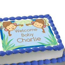 monkey baby shower cake monkey boy baby shower personalized edible image cake decoration