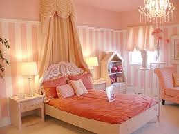 girly bedroom interior with a drape type fantasy canopy behind bed