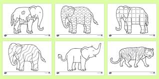 Patchwork Elephant Book - colouring sheets to support teaching on elmer elmer elmer the