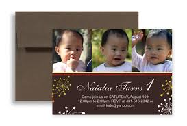 baby picture 1st birthday party invitations 7x5 in