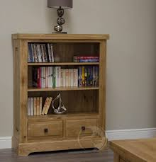 Solid Oak Bookcase Uk Coniston Rustic Solid Oak Small Bookcase With Drawers Oak