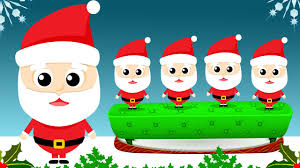 five santas jumping on the bed nursery rhyme