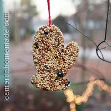 for the birds mitten shaped bird seed ornament