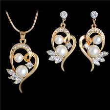 crystal pearl necklace set images Gorgeous 18k gold plated full crystal pearl jewellery set with jpeg