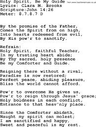 Holy Spirit My Comforter Good Old Hymns Holy Spirit Be My Guide Lyrics Sheetmusic