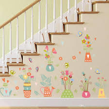 colorful potted flowers butterfly wall stickers kids room nursery colorful potted flowers butterfly wall stickers kids room nursery border hallway decor graphic poster