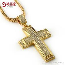 cross golden necklace images Wholesale hip hop cross pendant men chunky 24k gold plated jewelry jpg