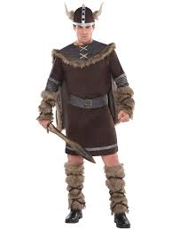 adults deluxe barbarian viking costume mens warrior fancy dress