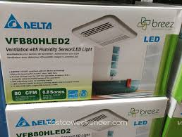 Humidity Sensing Bathroom Fan With Light by Delta Breez Vfb80hled2 Ventilation Bath Fan With Led Light
