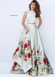green satin floral printed crop top sherri hill style 50270 dress