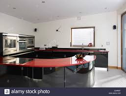 modern kitchen uk black and red curved kitchen counter top in modern kitchen of