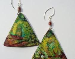 cardboard earrings recycled cardboard collage earrings