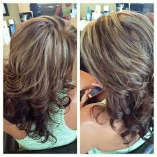 hi and low lights on layered hair chocolate brown lowlights white blonde highlights hairstyles