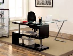 S Shaped Desk Furniture Of America Lilliana Black S Shaped Glass Top Office Desk