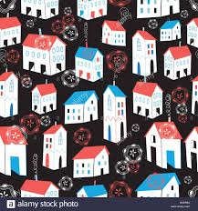 graphic pattern with different houses stock vector art