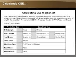 calculando overall equipment effectiveness oee