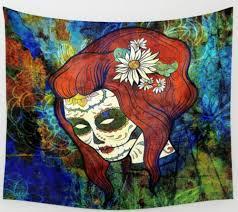 sugar skull wall tapestry sugar skulls abstract home decor zoom