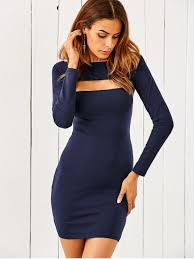 long sleeve cut out bodycon dress blue bodycon dresses m zaful