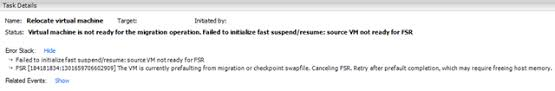suspend and resume storage vmotion error fast suspend and resume not initialize