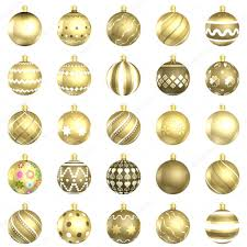 gold baubles big back 25 on white background stock