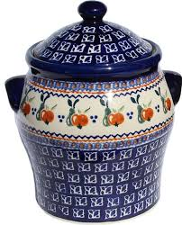 polish pottery large canister pattern number du71 farmhouse