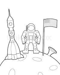 astronaut flag moon space rocket ship coloring book