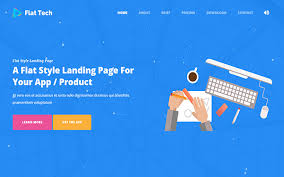 flat tech flat landing page template bootstrap landing pages