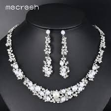 indian wedding necklace sets images Mecresh simple silver color simulated pearl bridal jewelry sets jpg