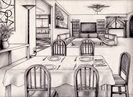 drawing of a room 2 point perspective interior perspective