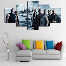 5 pieces modern wall art canvas fast furious 8 poster print for